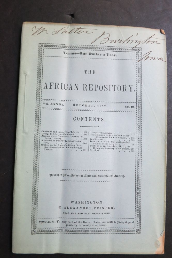 THE AFRICAN REPOSITORY. American Colonization Society.