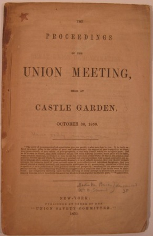 THE PROCEEDINGS OF THE UNION MEETING, HELD AT CASTLE GARDEN, OCTOBER 30, 1850. Union Safety Committee.