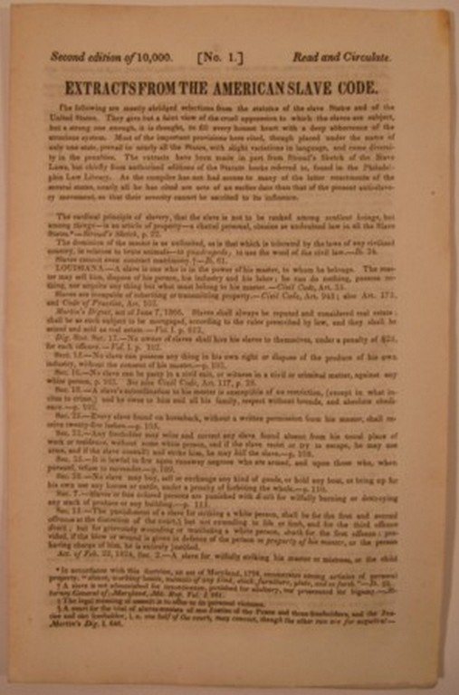 EXTRACTS FROM THE AMERICAN SLAVE CODE. Anti-Slavery Bugle.