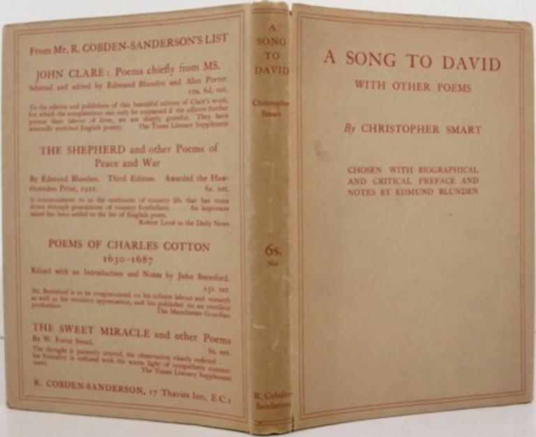 A SONG TO DAVID, WITH OTHER POEMS. Edmund Blunden, ed., Christopher Smart.