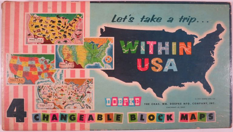 LET'S TAKE A TRIP... WITHIN USA. Child's Block Toy, Chas. Wm Doepke.