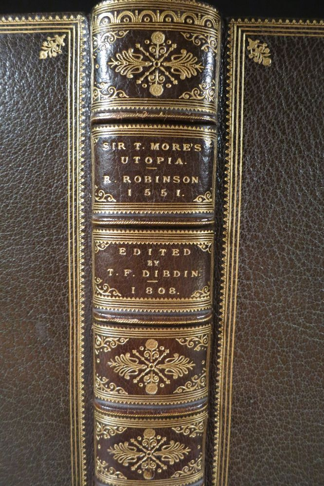 [UTOPIA] A MOST PLEASANT, FRUITFUL, AND WITTY WORK OF THE BEST STATE OF A PUBLIC WEAL, AND OF THE NEW ISLE CALLED UTOPIA: WRITTEN IN LATIN BY THE RIGHT WORTHY AND FAMOUS SIR THOMAS MORE, KNIGHT, AND TRANSLATED INTO ENGLISH BY RAPHE ROBINSON. A.D. 1551. Thomas More.