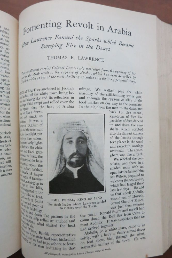 Three articles in THE WORLD'S WORK: Fomenting Revolt in Arabia, Dynamiting Turks, and With Lawrence's Guerillas. T. E. Lawrence.