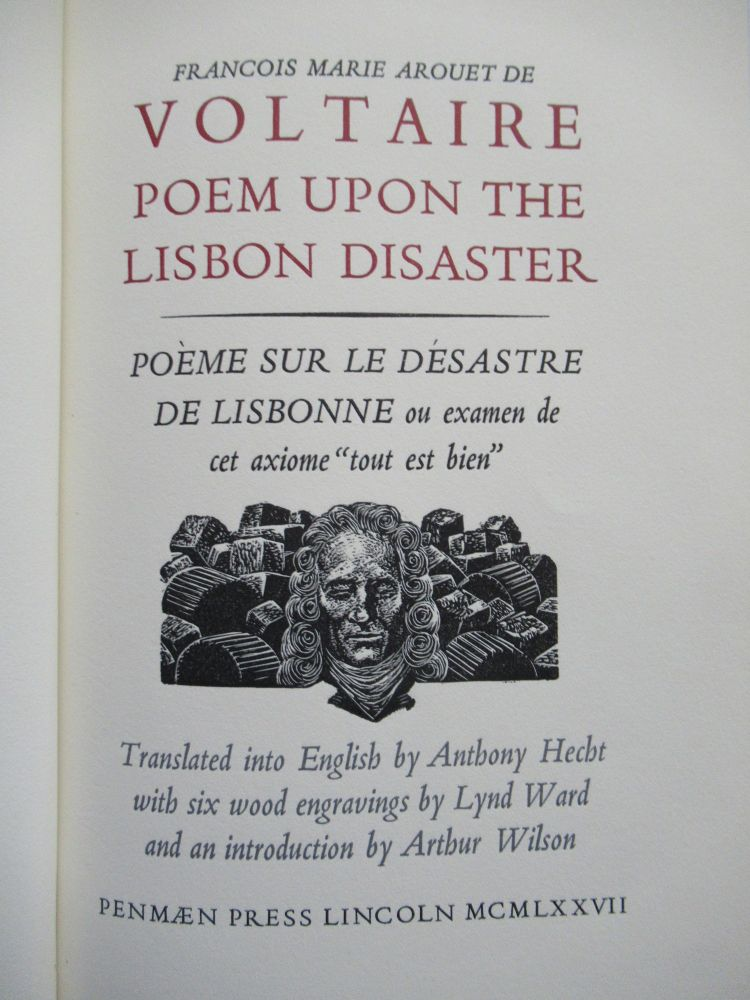 POEM UPON THE LISBON DISASTER. Lynd Ward, Francoise M. A. de Voltaire.