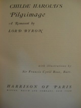 CHILDE HAROLD'S PILGRIMAGE, A ROMAUNT. Lord Byron, George Gordon Noel