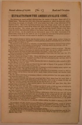 EXTRACTS FROM THE AMERICAN SLAVE CODE. Anti-Slavery Bugle