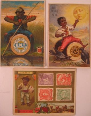 Three color-printed trade cards