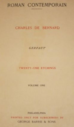 GERFAUT [with] GERFAUT Vol. II and MILITONA by Théophile Gautier.
