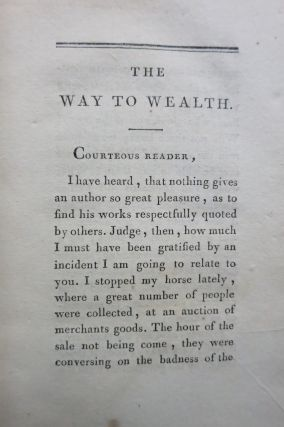 THE WAY TO WEALTH OR POOR RICHARD IMPROVED. (Title p. 33: LA SCIENCE DU BONHOMME RICHARD, OU MOYEN FACILE DE PAYER LES IMPOTS.).