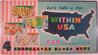 LET'S TAKE A TRIP... WITHIN USA. Child's Block Toy, Chas. Wm Doepke