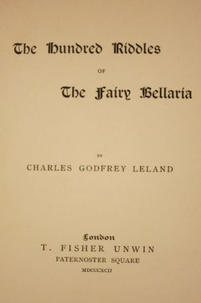 THE HUNDRED RIDDLES OF THE FAIRY BELLARIA.