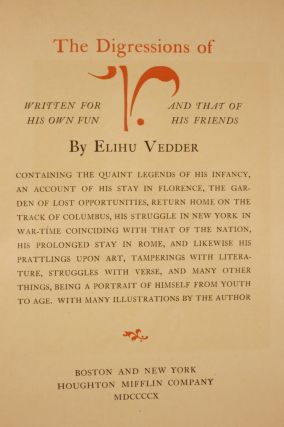 THE DISGRESSIONS OF V. WRITTEN FOR HIS OWN FUN AND THAT OF HIS FRIENDS.