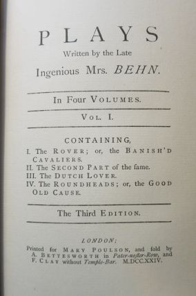 THE PLAYS, HISTORIES, AND NOVELS OF THE INGENIOUS MRS. APHRA BEHN.