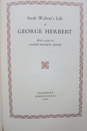 IZAAK WALTON'S LIFE OF GEORGE HERBERT. Izaak Walton