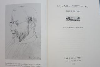 ERIC GILL IN DITCHLING, FOUR ESSAYS. Peter Holliday, ed