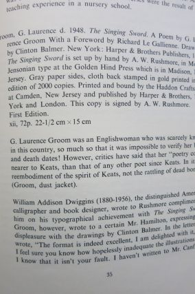 ARTHUR W. RUSHMORE & THE GOLDEN HIND PRESS, A History and Bibliography.