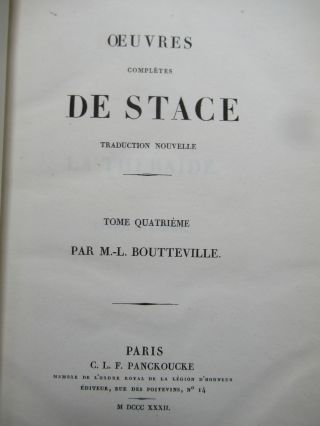 OEUVRES COMPLETES DE STACE.