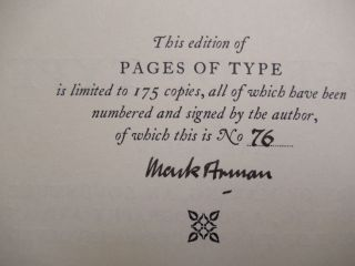 PAGES OF TYPE: A Story of Making, An Adventure in Printing, A Bibliography and An Account of the Processes Involved.