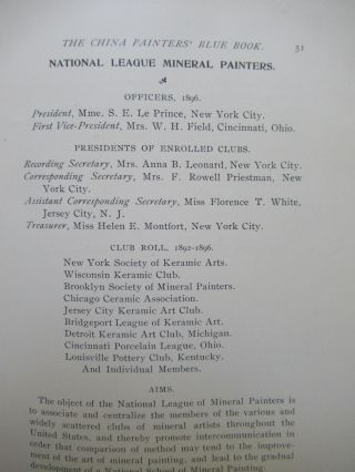 THE CHINA PAINTERS' BLUE BOOK. Containing the Portraits and Addresses of Many of the Most Prominent Teachers of China Painting and Constituting a Record of the Achievements of the Mineral Painting Art in America.