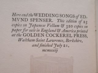 THE WEDDING SONG OF EDMUND SPENSER: being the PROTHALAMION & THE EPITHALAMION.